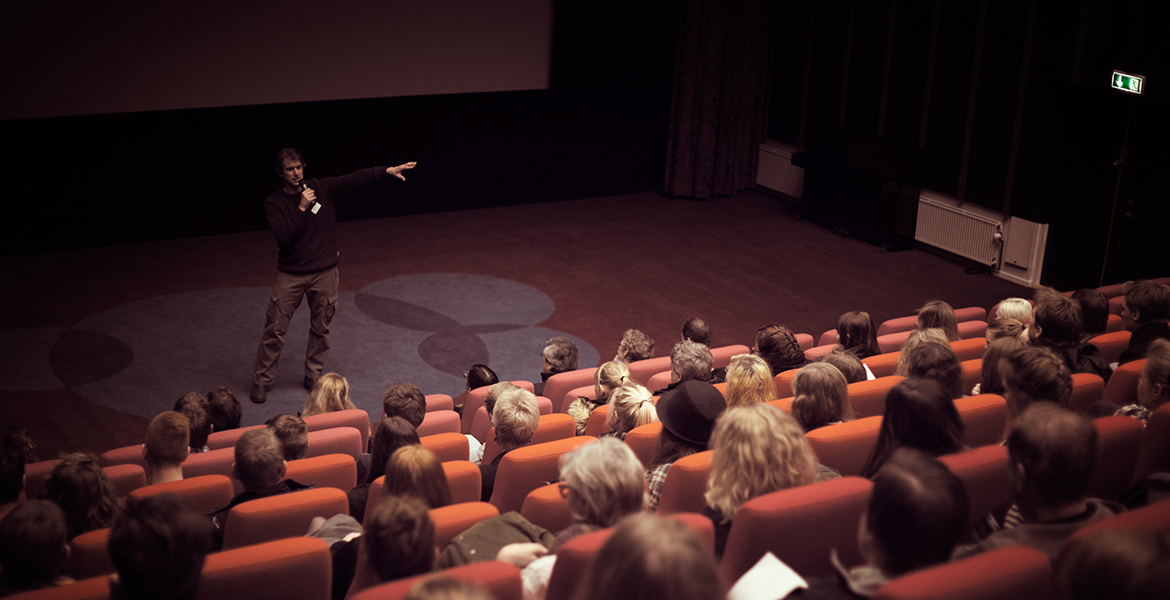 Film lecture in the big cinema at european film college